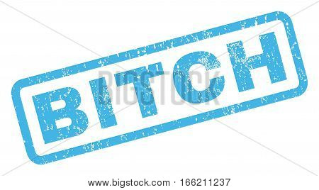Bitch text rubber seal stamp watermark. Tag inside rectangular banner with grunge design and dirty texture. Inclined vector blue ink emblem on a white background.