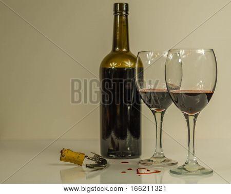 bottle, glass, red, wine, heart, love, open, wine, vine