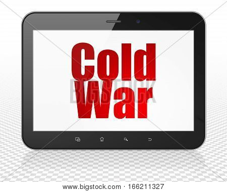 Political concept: Tablet Pc Computer with red text Cold War on display, 3D rendering