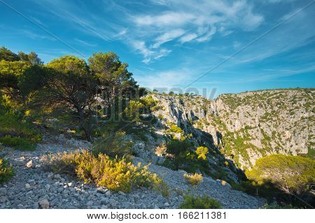 Beautiful nature of Calanques on the azure coast of France. High cliffs under blue sunny sky.