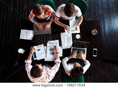 Analysis Business Brainstorming Corporate Smart Concept - top view
