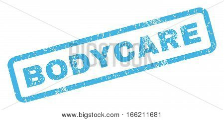 Bodycare text rubber seal stamp watermark. Caption inside rectangular shape with grunge design and dirty texture. Inclined vector blue ink sign on a white background.