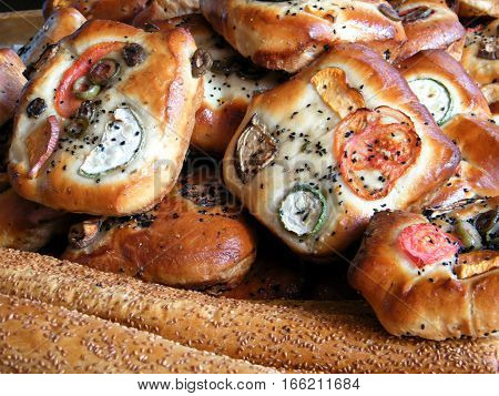 The bread and bakery products on bazaar in Tel Aviv Israel January 12 2011