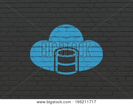 Database concept: Painted blue Database With Cloud icon on Black Brick wall background