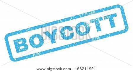 Boycott text rubber seal stamp watermark. Tag inside rectangular banner with grunge design and dirty texture. Inclined vector blue ink sign on a white background.