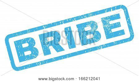 Bribe text rubber seal stamp watermark. Caption inside rectangular banner with grunge design and dust texture. Inclined vector blue ink sticker on a white background.