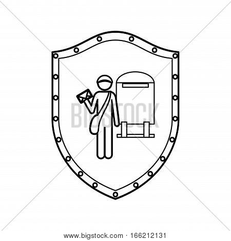 contour shield of postman with mailbox vector illustration