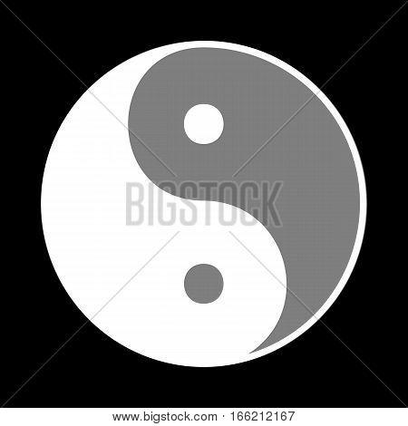 Ying yang symbol of harmony and balance. White icon in gray circle at black background. Circumscribed circle. Circumcircle.