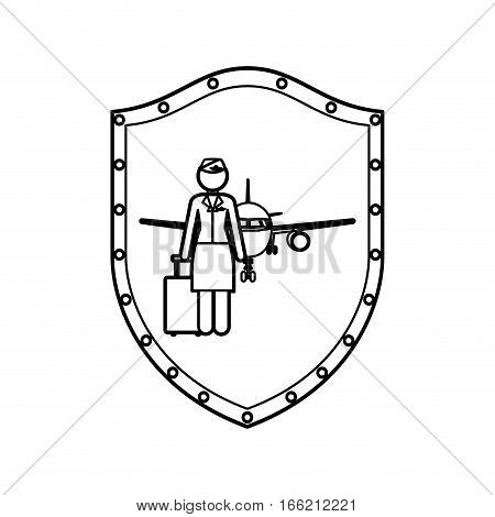 contour shield of flight attendant and aeroplane vector illustration