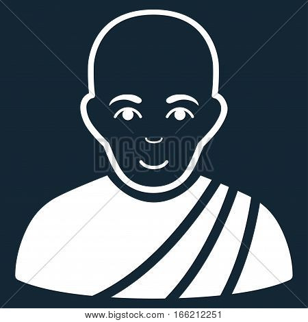 Buddhist Monk vector icon. Flat white symbol. Pictogram is isolated on a dark blue background. Designed for web and software interfaces.