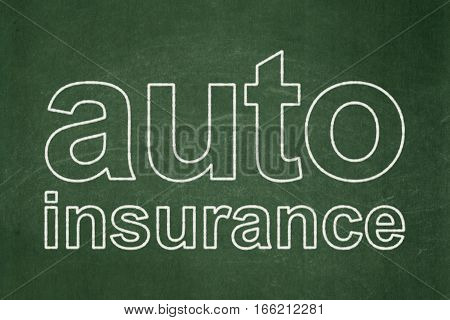 Insurance concept: text Auto Insurance on Green chalkboard background