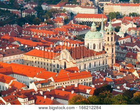 Aerial view of the Lesser Town, aka Mala Strana, with St Nicholas Church in Prague, capital city of Czech Republic, Europe. UNESCO World Heritage Site