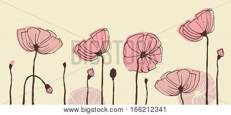 Sketches of flowers. Red poppies. Vector banner
