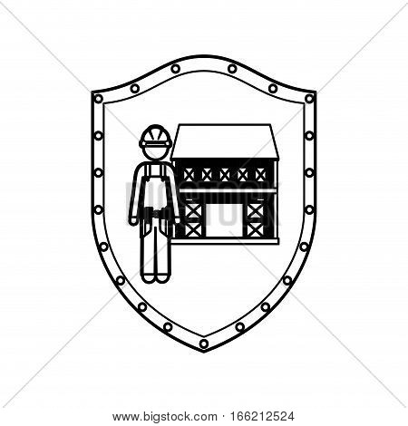 contour shield with builder with helmet and house vector illustration