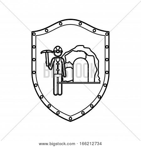 contour shield with miner with pickaxe vector illustration