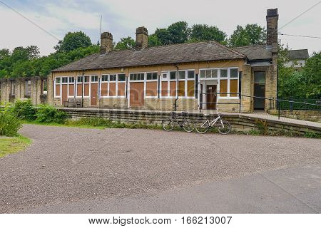 Disused railway station on The Monsal Trail in the Derbyshire Peak District, a section of the former railway to link Manchester with London
