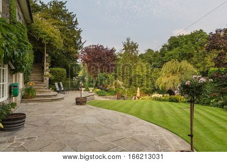English country garden in the Peak District Derbyshire UK