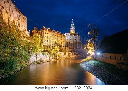 Beautiful night view to castle tower in Cesky Krumlov, Czech republic. UNESCO World Heritage Site