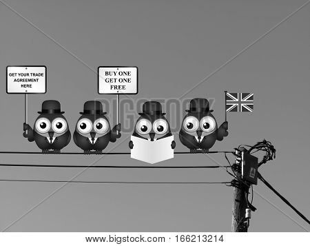 Monochrome comical United Kingdom Trade Agreement negotiation delegation following the June 2016 referendum to exit the European Union perched on electrical cables