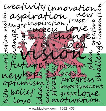 Conceptual Illustration of Tag Cloud With Words Related To Vision Creativity And Optimism Wales Flag Background