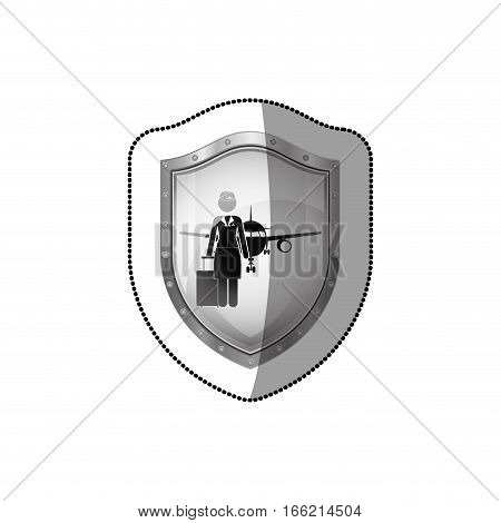 sticker of shield flight attendant and aeroplane