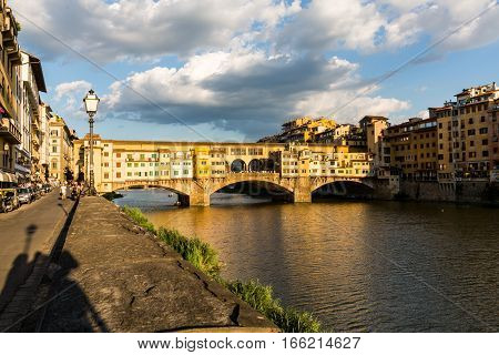 View Of Florence Cityscape Overlook From Piazzale Michelangelo Of The Ponte Vecchio In Florence On J