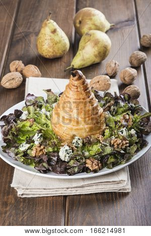 Salad Of Nut Lettuce With A Pear In Puff Pastry