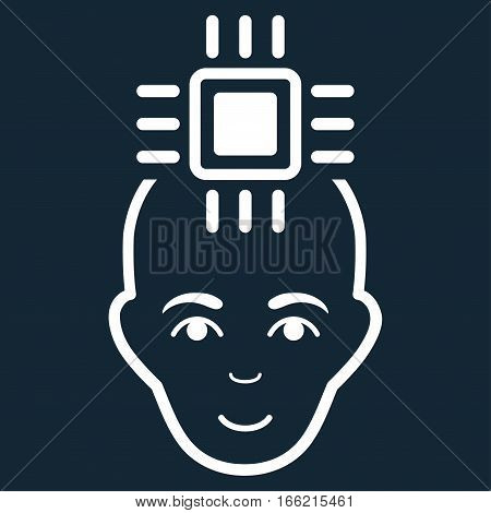Neural Computer Interface vector icon. Flat white symbol. Pictogram is isolated on a dark blue background. Designed for web and software interfaces.