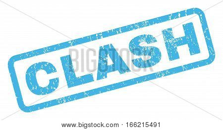 Clash text rubber seal stamp watermark. Tag inside rectangular banner with grunge design and dirty texture. Inclined vector blue ink sign on a white background.