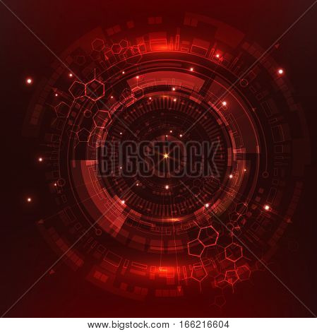 Red Sci fi futuristic user interface. abstract hexagon pattern. Abstract vector background.