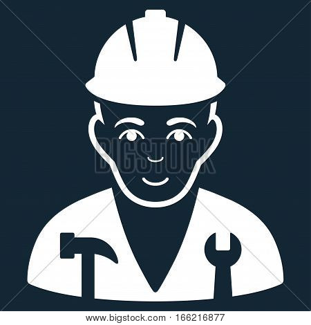 Serviceman vector icon. Flat white symbol. Pictogram is isolated on a dark blue background. Designed for web and software interfaces.