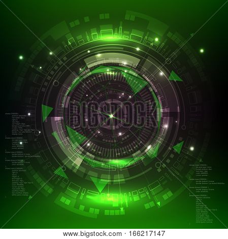 Technology digital background, green sci fi scientific design tech innovation concept background. Vector illustration.
