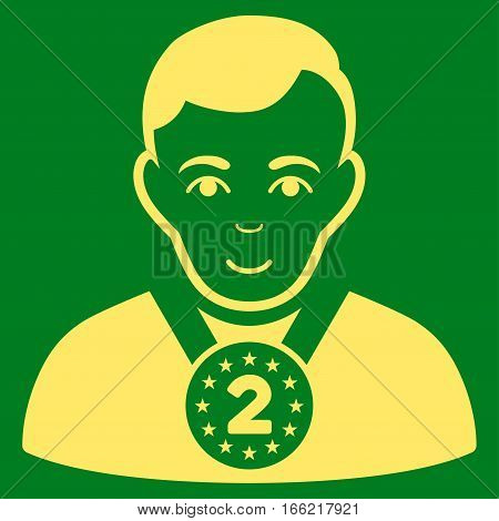 2nd Prizer Sportsman vector icon. Flat yellow symbol. Pictogram is isolated on a green background. Designed for web and software interfaces.