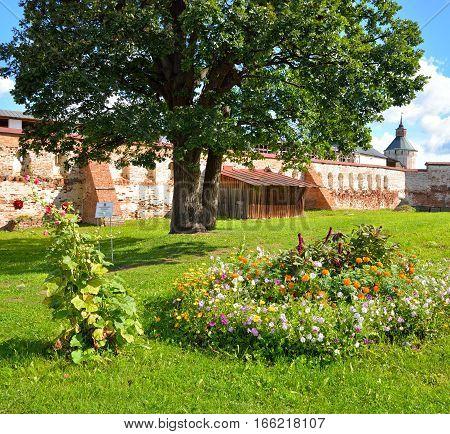 Flowerbed in Kirillo-Belozersky monastery by day near City Kirillov Vologda region Russia.
