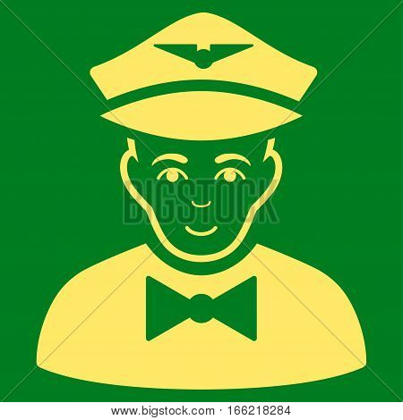 Airline Steward vector icon. Flat yellow symbol. Pictogram is isolated on a green background. Designed for web and software interfaces.