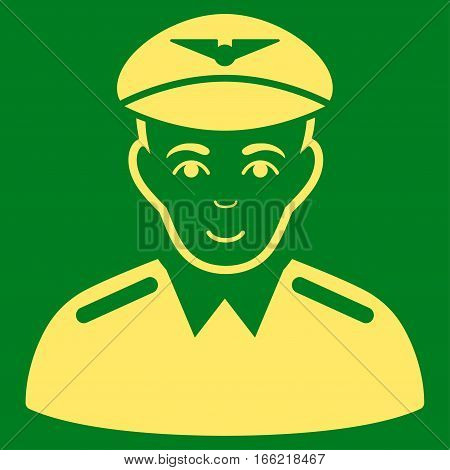 Aviator vector icon. Flat yellow symbol. Pictogram is isolated on a green background. Designed for web and software interfaces.