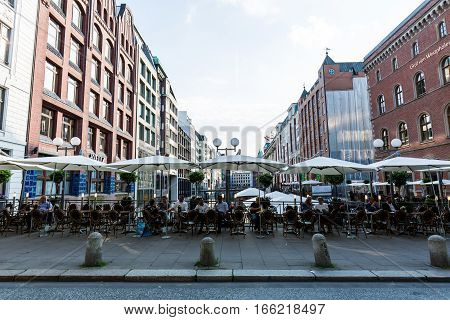 View Of The Canal Bleichenfleet And Buildings Along In Hamburg