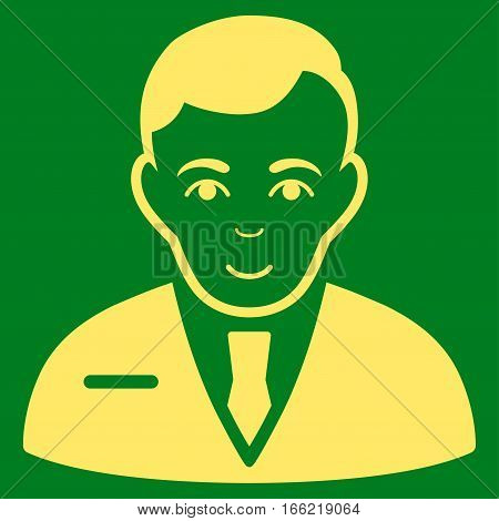 Businessman vector icon. Flat yellow symbol. Pictogram is isolated on a green background. Designed for web and software interfaces.