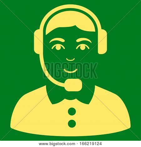 Call Center Operator vector icon. Flat yellow symbol. Pictogram is isolated on a green background. Designed for web and software interfaces.