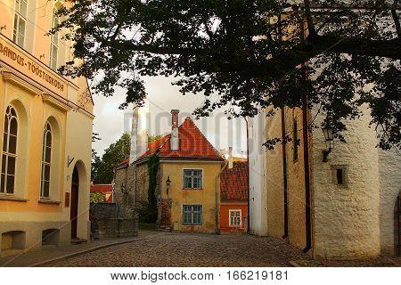 Quiet early morning side street in old town Tallinn, Estonia