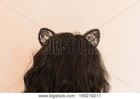 Sexy woman with cat Ears. Role-playing games. Games for Adults. Sex shop.