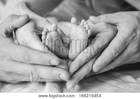 Black and white photo of parents holding newborn baby's feet in their hands