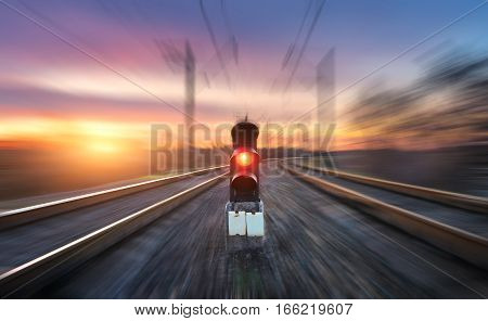 Railway Station And Semaphore With Motion Blur Effect