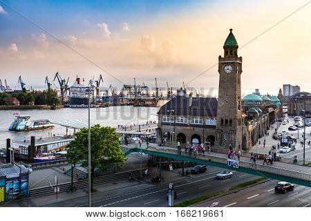 View Of The St. Pauli Piers One Of Hamburgs Major Tourist Attractions