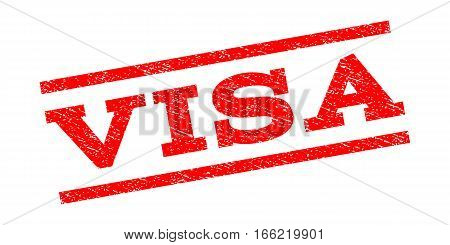 Visa watermark stamp. Text tag between parallel lines with grunge design style. Rubber seal stamp with dust texture. Vector red color ink imprint on a white background.
