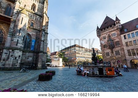 View Of The Lorenzer Square And The Tugendbrunnen In Nurnberg