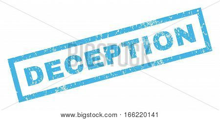 Deception text rubber seal stamp watermark. Caption inside rectangular banner with grunge design and dust texture. Inclined vector blue ink sticker on a white background.