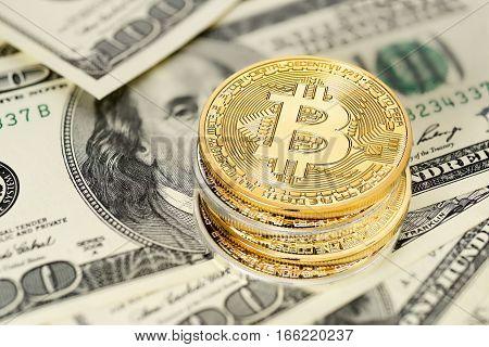 Bitcoin And Dollar Bills
