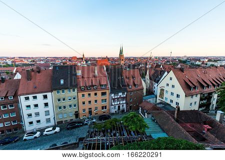 Overlook From The Nuremberg Castle To The Nuremberg Old Town Part At Sunset