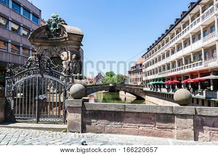 View Of The Museumsbrucke In The Old Town Part Of Nuremberg